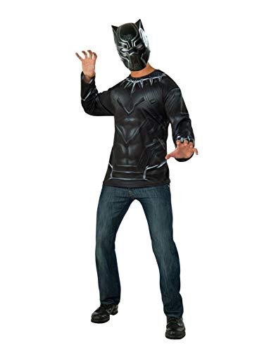 Captain America: Civil War Black Panther Costume Top and Mask, Multi, Extra Large