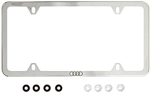 Genuine Audi ZAW071801B Slimline License Plate Frame with Audi Ring