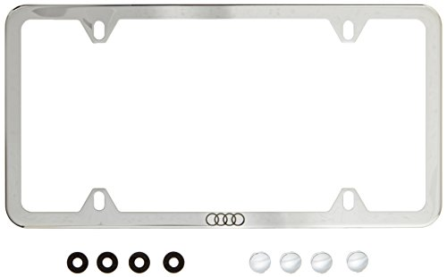 Genuine Audi ZAW071801B Slimline License Plate Frame with Audi Ring Slimline Plate Frames