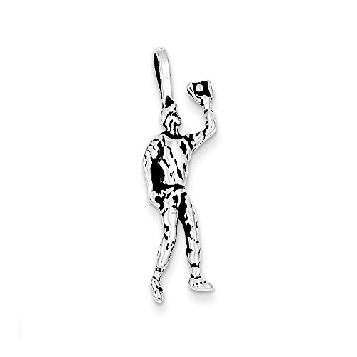 (Solid 925 Sterling Silver Pendant Antiqued Baseball Player Charm (32mm x 10mm))