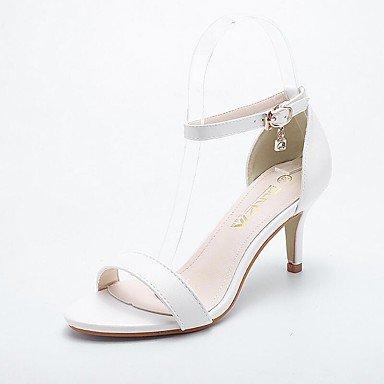 Le donne sexy elegante sandali donna tacchi Primavera Estate Autunno scarpe Club Comfort PU Party & abito da sera Casual Stiletto Heel Rhinestone BuckleBlack mandorla bianco , nero , us9 / EU40 / UK7