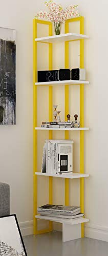 Decorotika Alice 5-Shelf Vintage Industrial Corner Bookshelf, Rustic and Metal Corner Bookcase with Fancy Color Options,Multiple Use Option (Yellow and White)
