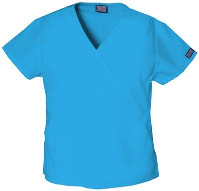 Mini Mock Cotton Wrap - WorkWear 4880 Women's Mini Mock Wrap Scrub Top Turquoise Small
