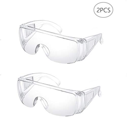 Safety Glasses 2 Pack Protective Goggles – Anti-fog Safety Eyewear Protective Glasses Anti-UV Clear Goggle Polycarbonate…