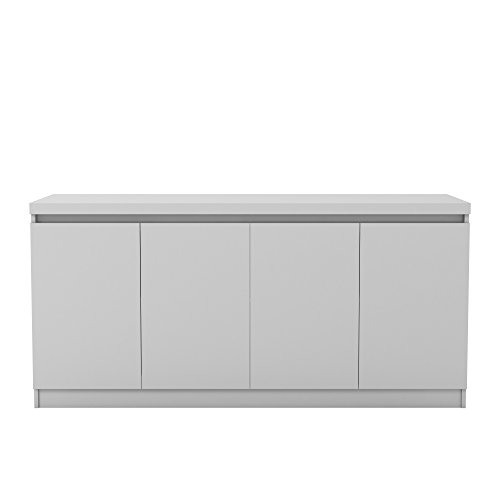 Manhattan Comfort Viennese Collection 6 Shelf Gloss Finished Long Buffet Cabinet / Dining Console with 4 Doors, White -