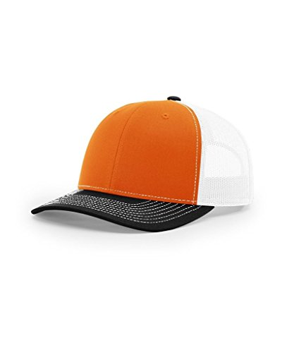 Richardson Twill Mesh Back Trucker Snapback Hat -- Orange/White/Black