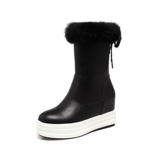 Bootie Boots Black Boots ZHZNVX Booties Round Boots HSXZ Snow Calf Ankle Fall Mid Women's Boots Winter Flat Toe Boots Shoes Null Fashion for Leatherette vUvn0x