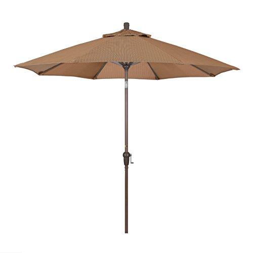 California Umbrella 9' Round Aluminum Market Umbrella, Crank Lift, Auto Tilt, Champagne Pole, Terrace Sequoia Olefin
