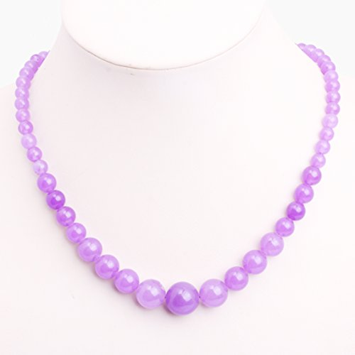 GEM-inside Necklace Pendant Graduated Gemstone Light Purple Jade Beads Fashion Jewellry 17.5 Inches 6--14mm (Necklace Purple Gemstone Jade)