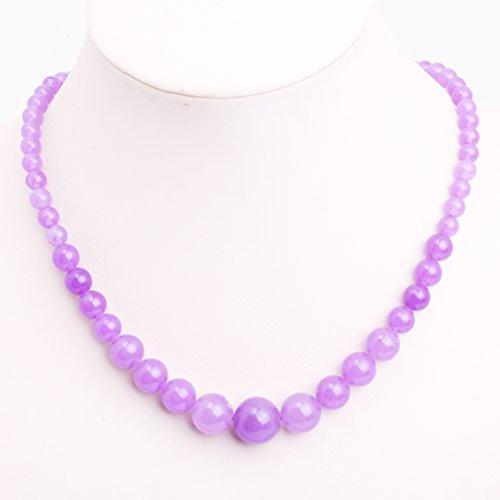 GEM-inside Necklace Pendant Graduated Gemstone Light Purple Jade Beads Fashion Jewellry 17.5 Inches 6--14mm (Gemstone Jade Necklace Purple)
