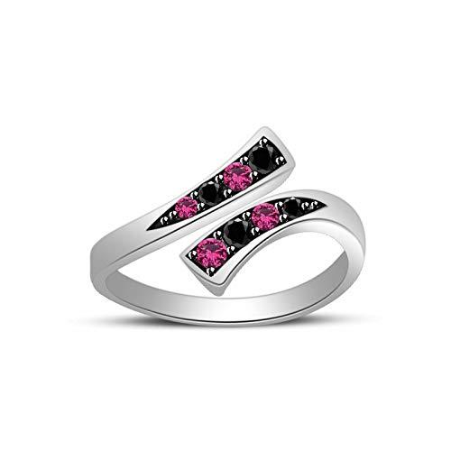 (CGJ 0.12ct Red Ruby & Sim Diamond Womens Adjustable Bypass Toe Ring 14k White Gold)