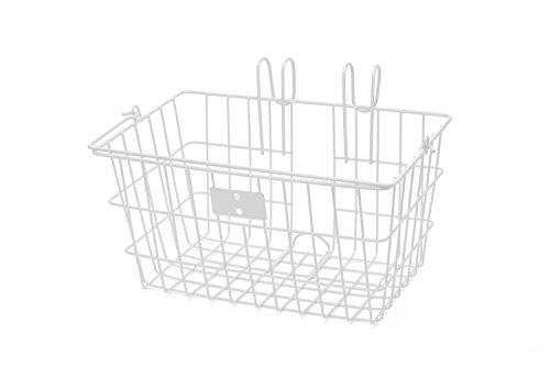 Retrospec Detachable Steel Apollo-Lite Lift-Off Front Bike Basket with Handles, Glossy White
