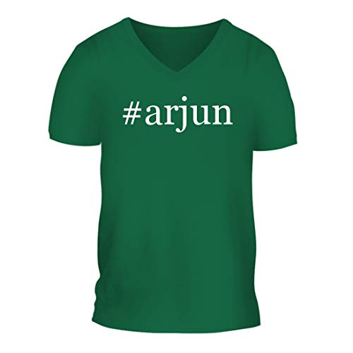 #Arjun - A Nice Hashtag Men's Short Sleeve V-Neck T-Shirt Shirt, Green, Large