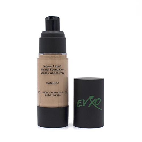 Natural Coverage Liquid Mineral Foundation Makeup - Organic Ingredients, Gluten-Free, Vegan, Cruelty-Free(Bamboo/Light-Tan with cool (Best Full Coverage Foundation)