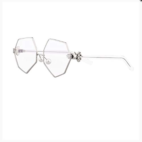 Retro for Women,BOLLH Geometric Octagon Shape Sunnies Flat Lens Oversized Sunglasses Rimless Colored ()