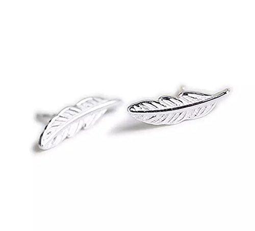 iszie - Clous d'oreilles en argent sterling et en forme de plumes ISZ -F011