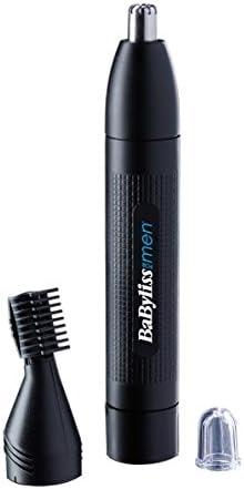BaByliss MEN E652E Cortapelos para nariz, orejas y cejas, sistema de corte circular, lavable bajo el grifo, color negro