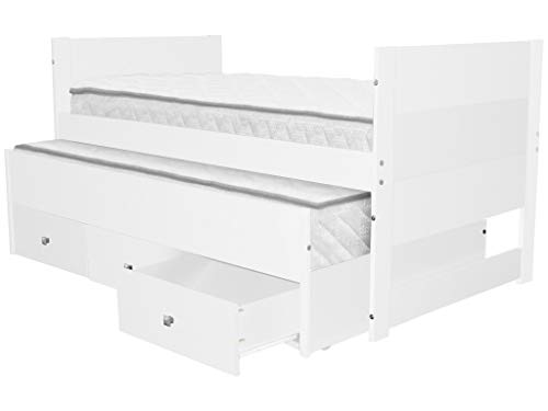 Bedz King All in One Twin Bed with Twin Trundle and 3 Built in Drawers, White (White Storage Trundle)