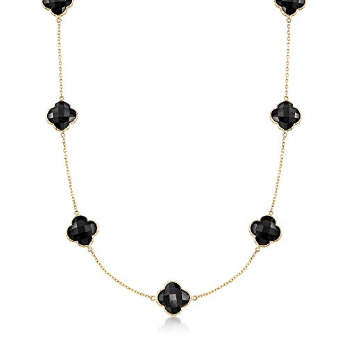 Ross-Simons Black Onyx Clover Necklace in 14kt Yellow Gold