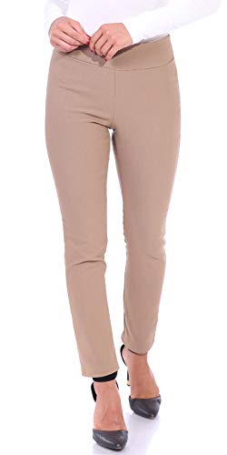 Popana Womens Stretch Pull On Dress Pants Ankle Length Work Casual - Made in USA X-Large Khaki