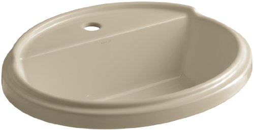 KOHLER K-2992-1-33 Tresham Oval Shaped Self-Rimming Bathroom Sink with Single-Hole Faucet Drilling, Mexican Sand