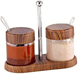 Wood salsas y especias de depósito (2 unidades de plástico en ...