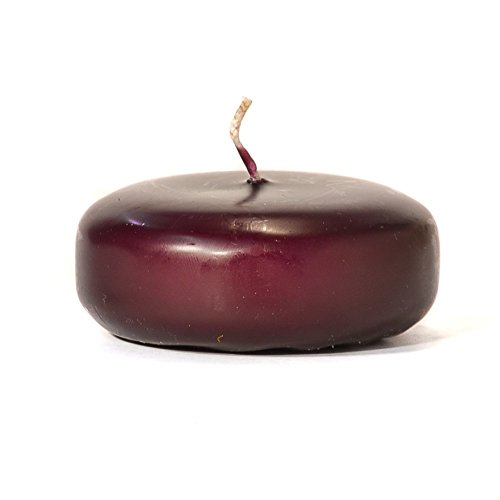 Plum Floating Candles Large Disk For Wedding/Dinner, Holiday Event, Home Decoration, Unscented, 8 to 10 hours, 3 in. diameter x 1.25 in. tall, 12 Pk