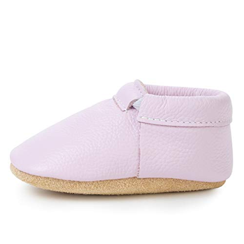 BirdRock Baby Fringeless Moccasins - Genuine Leather Boys and Girls Shoes for Newborns, Infants, Babies, Toddlers (Lilac, US 5.5) (Best Shoes For Crawlers)