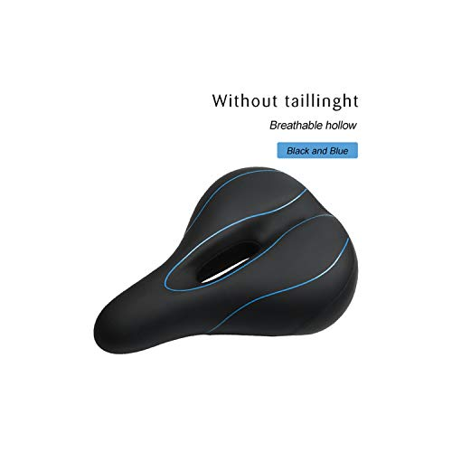 Sunny-Aha Bicycle Saddle with Tail Light Widen MTB Road Bike Cushion Comfortable Seat,Blue No Light
