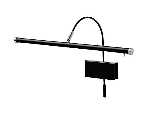 "Cocoweb 19"" Grand Piano Lamp with Integrated LED Black with Satin Nickel Accents - GPLED19SND"