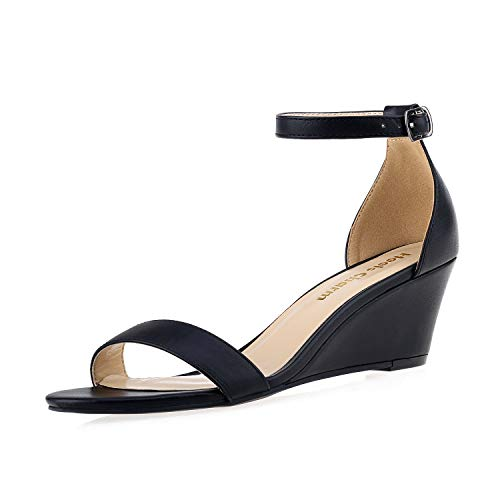 Women's Wedge Sandals Open Toe Ankle Strap Heel Sandals 2 Inch Platform High Heels Dress Shoes Black Size 10