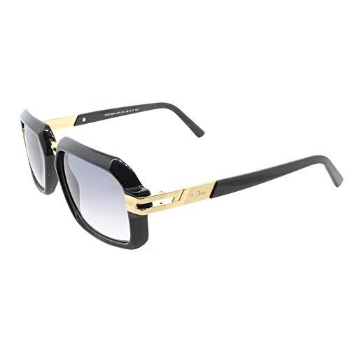 Cazal 6004 Sunglasses 001SG Shiny Black Gold / Grey Gradient Lens 56 ()