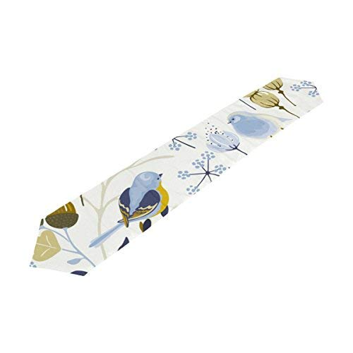(Vantaso Table Runners 90 inch Spring Floral Blue Birds And Wildflowers Beige Decorative Polyester Heat Resistant Tablerunner for Kitchen Dinning Table)