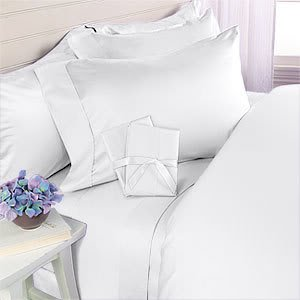 White Plain - Solid Twin Size Bed Sheet Set - 300 Thread 100% Egyptian Cotton [Fitted Sheet + Flat Sheet + 1 pillowcases]