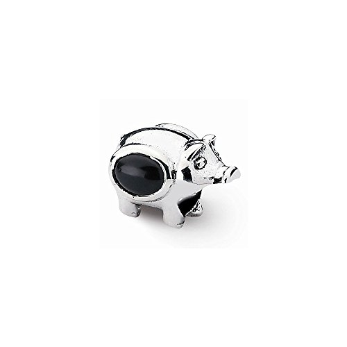 (Sterling Silver Reflections Onyx Pig Bead)