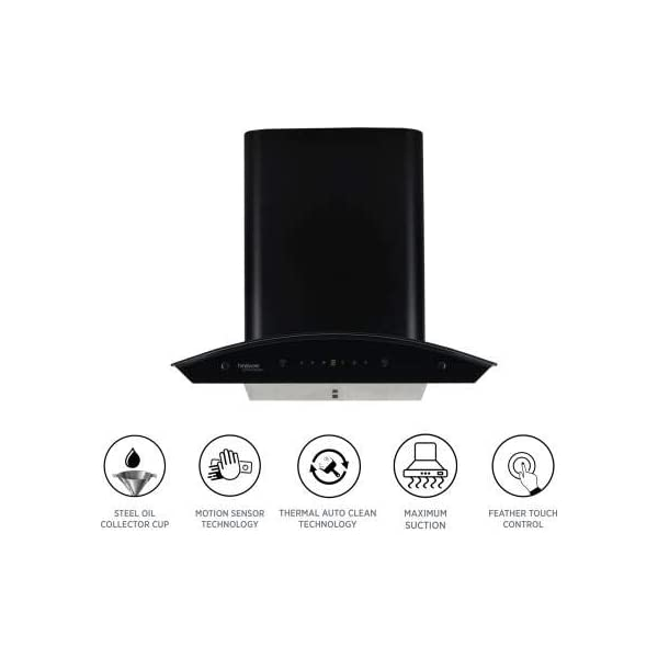 Hindware Cleo Plus Hac Blk 60 Cm Wall Mounted Chimney For Kitchen, Auto Clean With Motion Sensor Control Black Hood 1200…