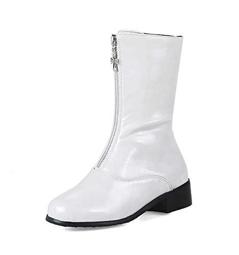 Tacón Blanco Cómodo Invierno Cremallera Otoño Británico Botas De Botas De Estilo Mujer De De SHINIK qSO767