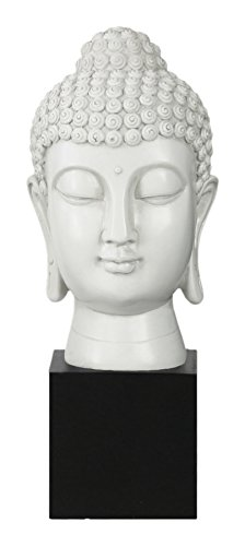 Urban Trends Resin Buddha Head with Bun Ushnisha on Base Gloss Finish, White by Urban Trends