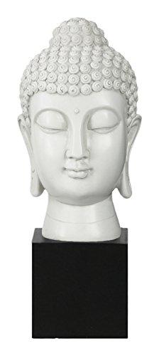 - Urban Trends Resin Buddha Head with Bun Ushnisha on Base Gloss Finish, White