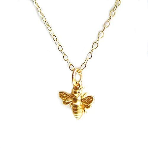 Bee Charm Necklace (3D Bumblebee Tiny Honey Bee 14k Gold Filled 18