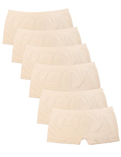 - Kalon 6 Pack Women's Nylon Spandex Boyshort Panties (Large, 6PK Beige)