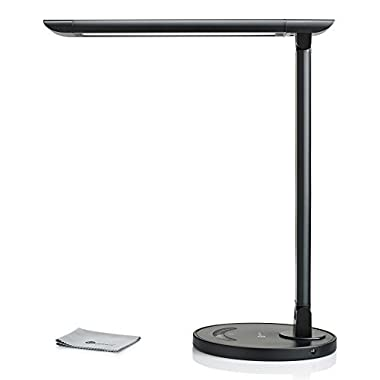 TaoTronics LED Desk Lamp Eye-caring Table Lamp, Energy Efficient LED Lamp(12W, Dimmable, Touch Control, 5 Color Modes, USB Charging Port) Black