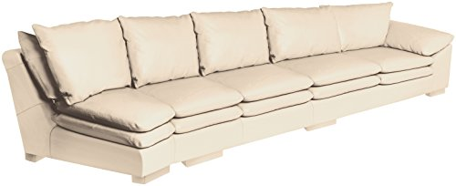 Omnia Leather Fargo Right Arm 4 Cushion Sofa with Half Curve in Leather, Standard No Nail Head, Softstations White Winter