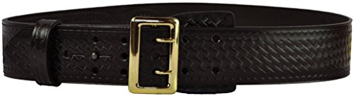 (Tactical 365 Operation First Response Police & Security Black Leather Duty Sam Browne Basketweave Belt Made in the USA (36, Gold))