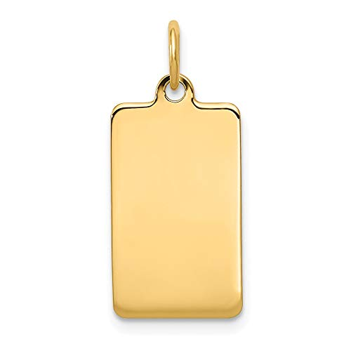 (14k Yellow Gold .013 Gauge Rectangular Engravable Disc Pendant Charm Necklace Square Rectangle Fine Jewelry Gifts For Women For Her)