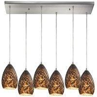 Pendants 6 Light with Satin Nickel Finish Burnt Caramel Glass Medium Base 30 inch 360 Watts - World of Lamp