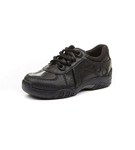 Zapatos Airship Jnr de escuela negros para niños, de la marca Hush Puppies