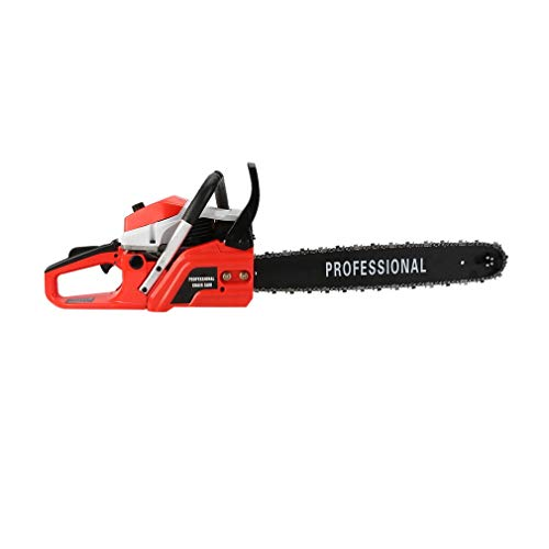 Kuddri Gas Chainsaw Cycle Professional Electric Petrol Chainsaw Double Spring Cordless Chainsaw for Tree Pruning Clearing Land Preparing Firewood (62CC Red)