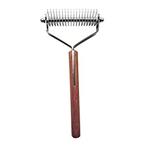 Mars Coat King Dematting Undercoat Grooming Rake Stripper Tool For Dogs And Cats, Stainless Steel with Wooden Handle, Made in Germany
