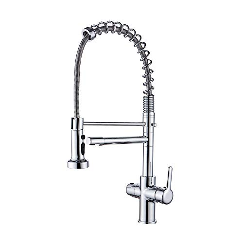 VOTON Water Filter Kitchen Faucet Chrome - Modern Kitchen Drinking Water Faucet Pull Down Sink 3 in 1 Water Purifier Sink Faucet
